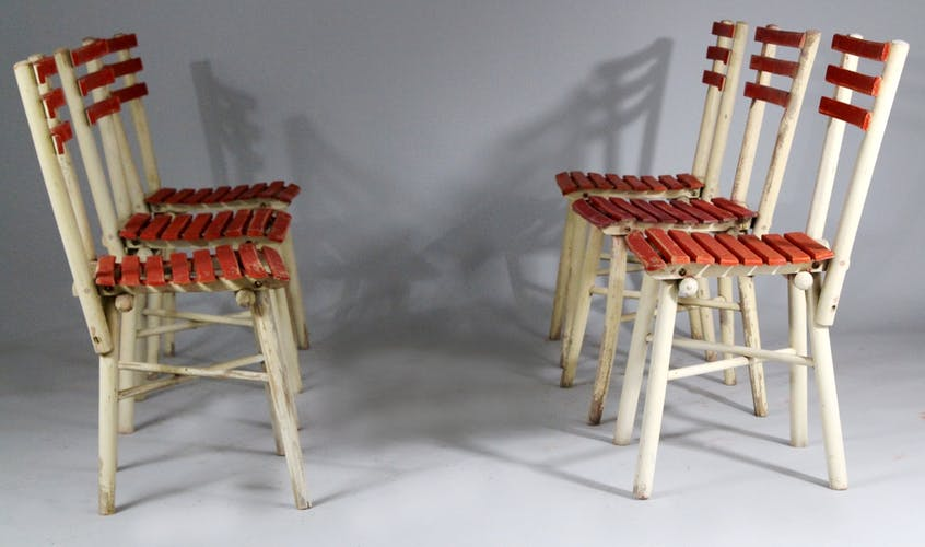 Ensemble de 6 chaises de jardin Thonet années 1950