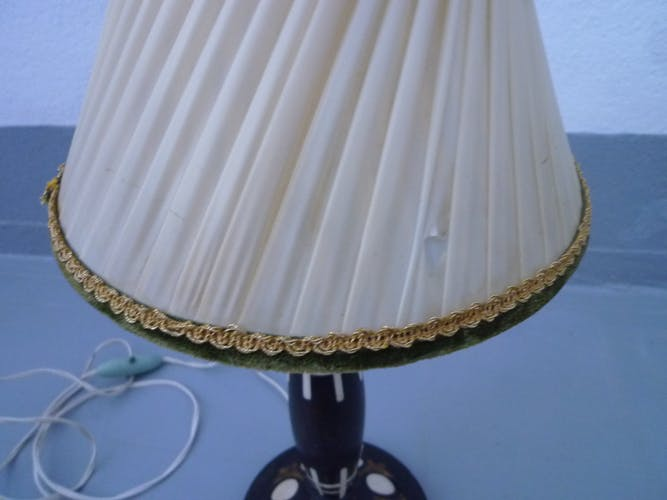 Old wooden table lamp with inlays
