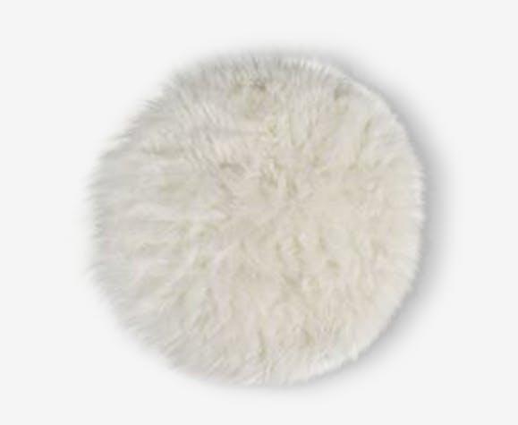 Tapis Fausse Fourrure Laine Coton Blanc Scandinave 113882