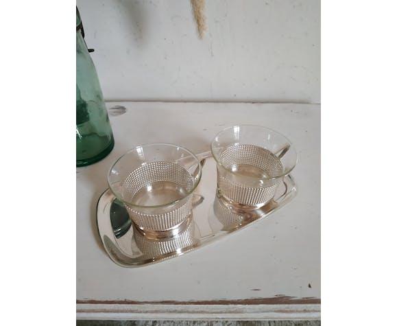 Ensemble tasses anciennes verre et métal Schott & Gen Mainz