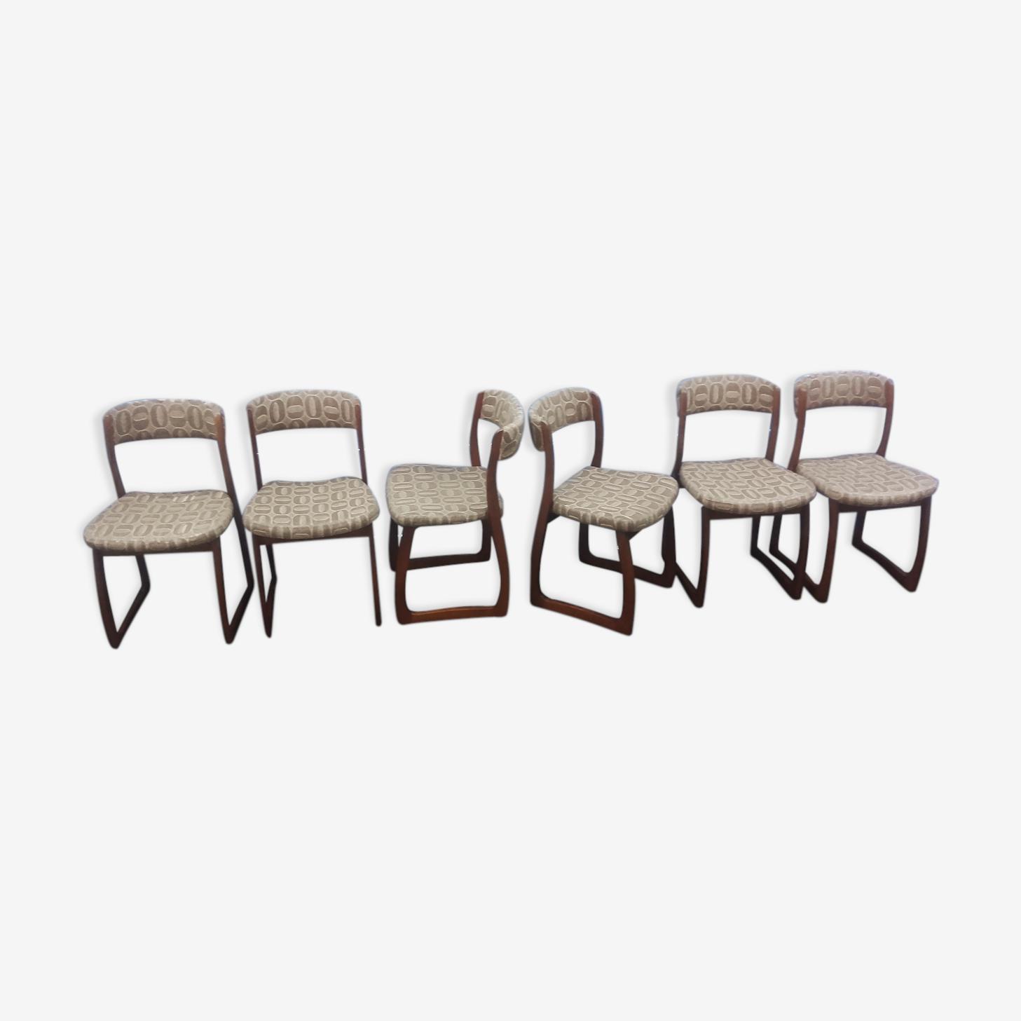 Suite de 6 chaises traîneau désignées par Self en bois