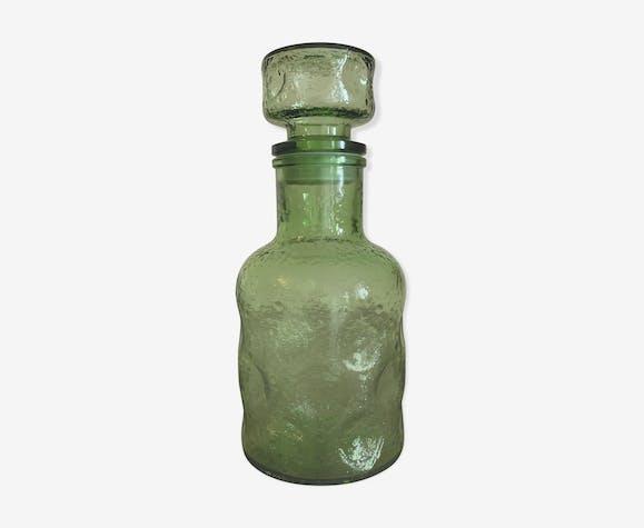 Vintage green glass bottle