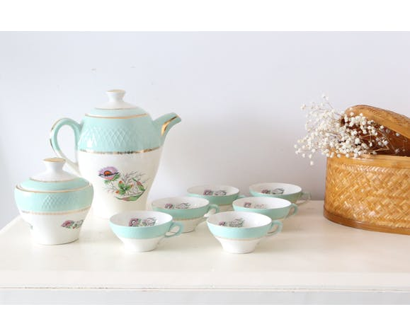 Service à café, cafetière, sucrier, 6 tasses et sous tasses, Moulin des Loups