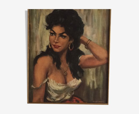 Portrait of a gypsy woman. Oil on canvas signed. Format 12F.