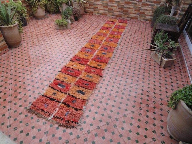 Moroccan vintage azilal hallway carpet berber 377 x 67 cm