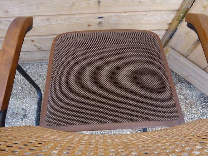 Rare pair s43f cloth and cane breuer armchair Brown