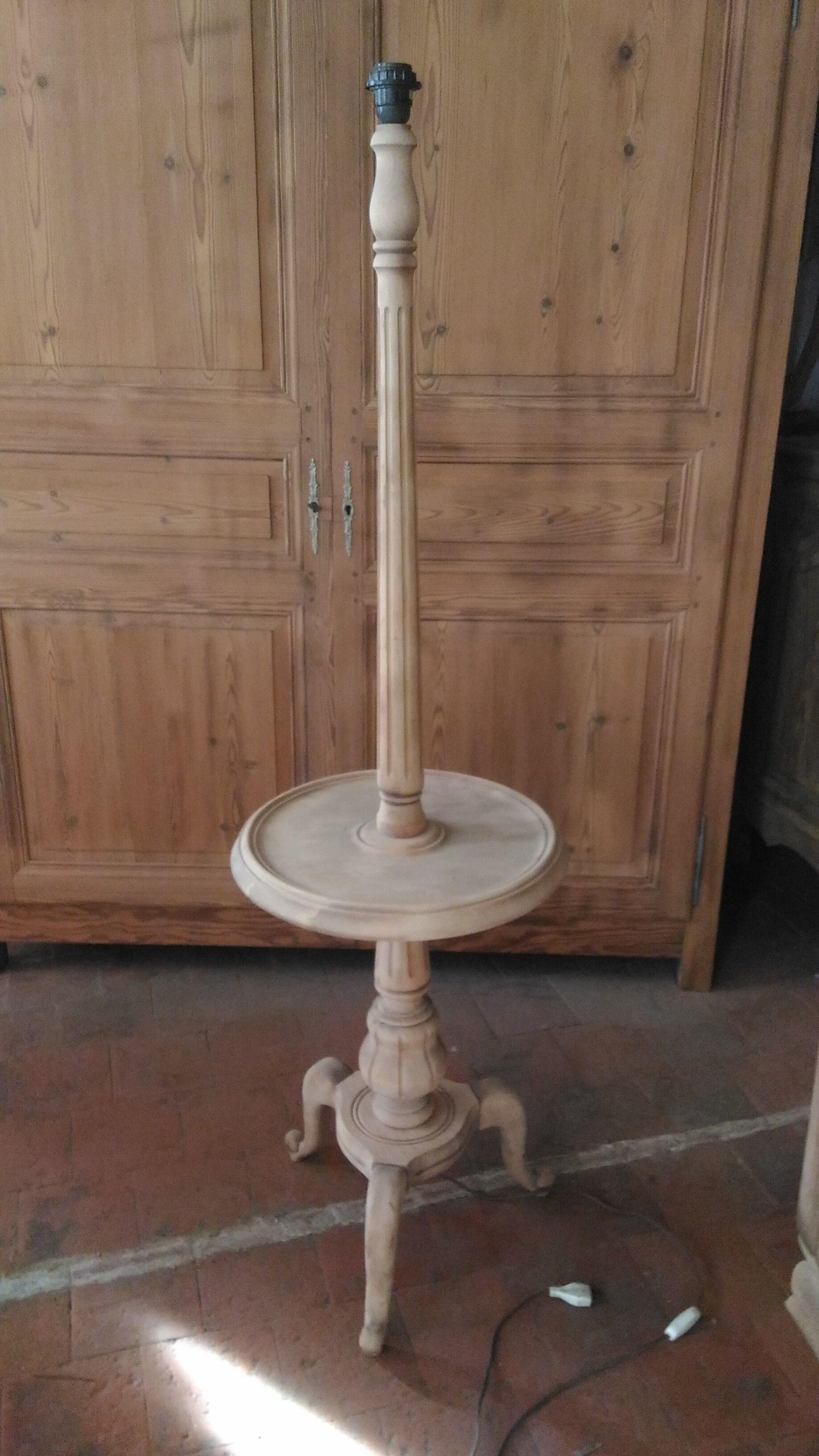 Ancien Pied De Lampe Bois Brut Lampadaire Vintage Bois Materiau