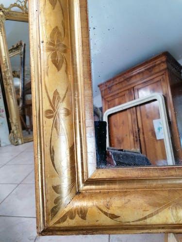 Miroir époque Louis Philippe à fronton - 153x88cm