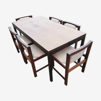 Table de salle manger vintage d 39 occasion for Table de salle a manger avec 6 chaises