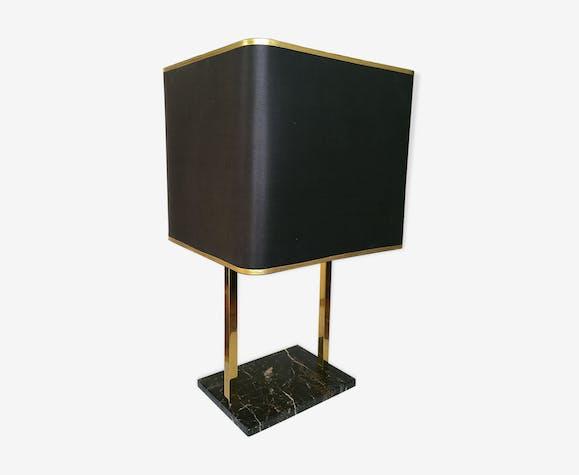 Lampe de salon en laiton et marbre noir 1970