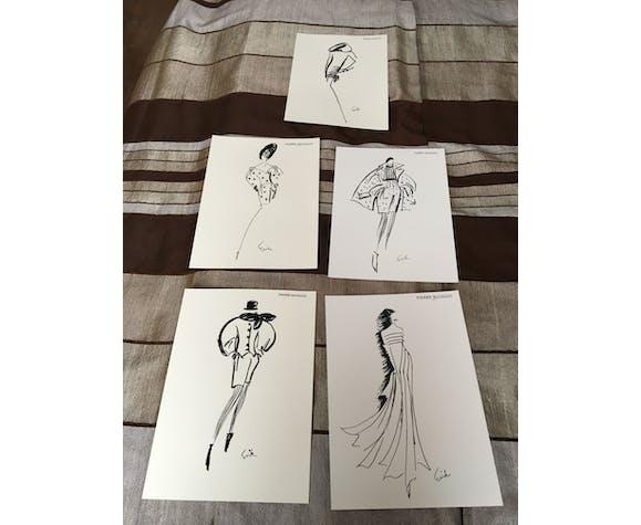 """Illustration vintage de mode """"Pierre Balmain"""" signée erick"""