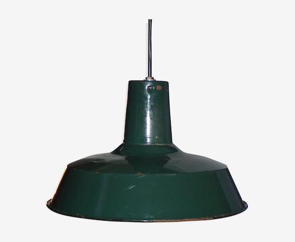 Lampe gamelle tôle émaillé vert