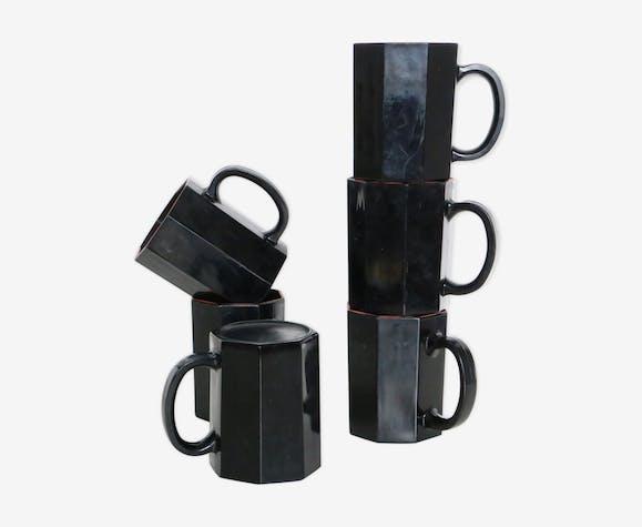 Ensemble de 6 mugs octogonal noir satiné
