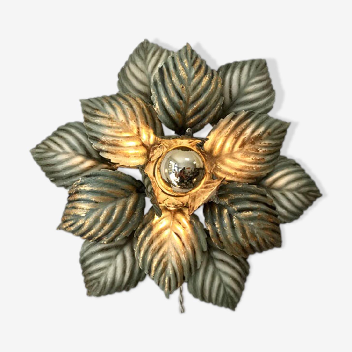 Applique fleur vert et or