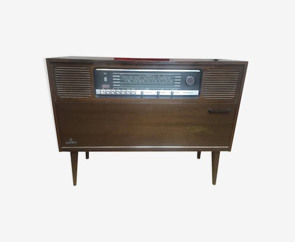meuble tourne disque et radio grundig bois mat riau marron vintage 97ganeu. Black Bedroom Furniture Sets. Home Design Ideas