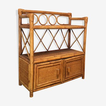 60s rattan bedside table or shelf