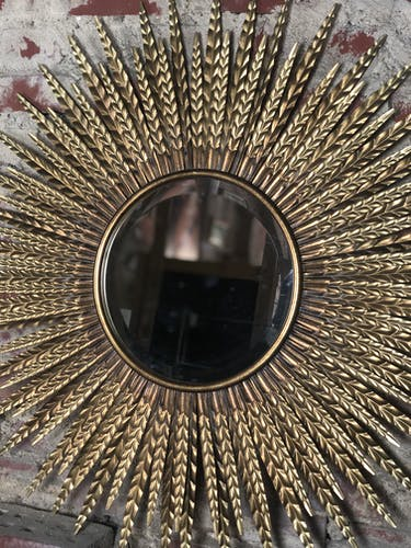 Sun mirror with flat beveled gilded mirror 87 cm