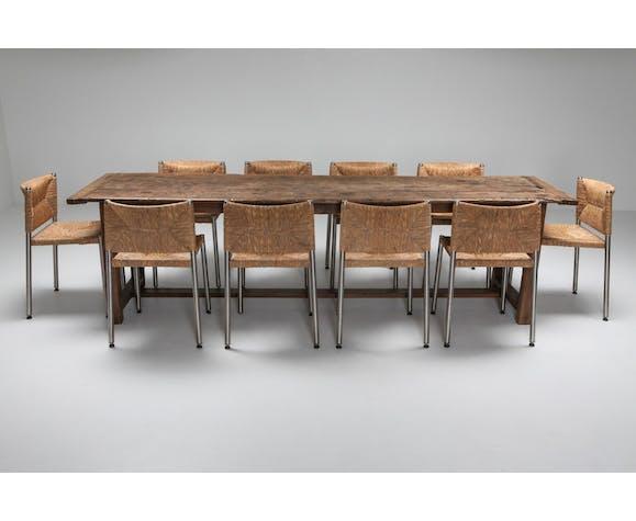 Chaise moderne rustique contemporaine en jonc de mer et aluminium 1980