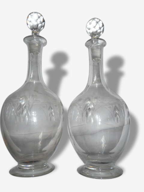Lot de deux carafes cristal