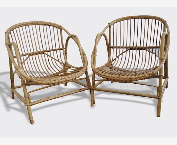 fauteuil rotin bambou vintage 1950 - Fauteuil Bambou