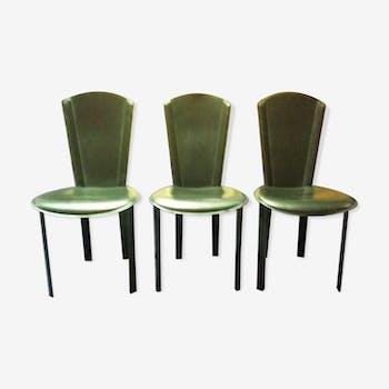 Ensemble de 3 chaises en cuir noir