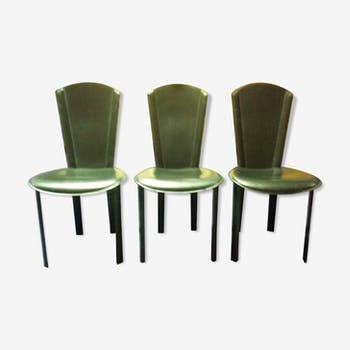 Set of 3 black leather chairs
