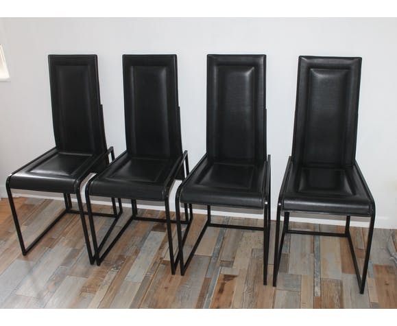 Lot of 4 vintage leather chairs pick saddler