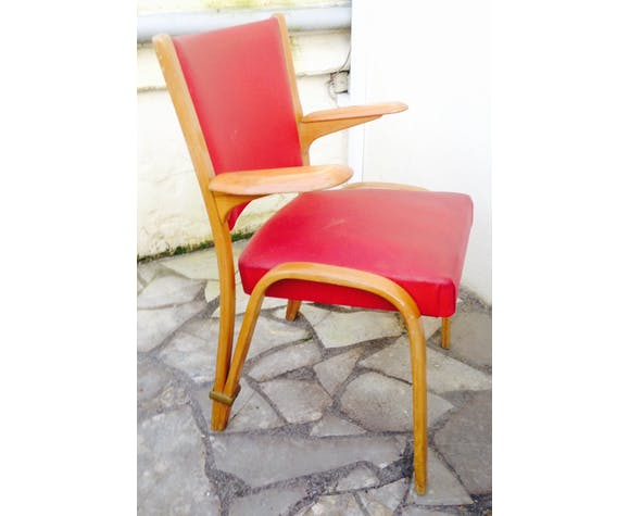 Chair bow wood Hugues Steiner with armrests