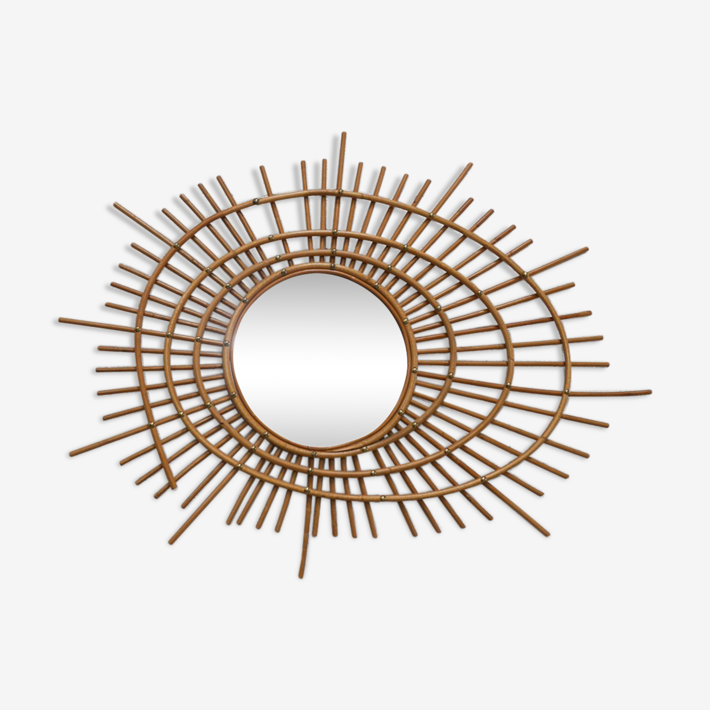 Miroir soleil spirale en rotin 78  x 65 cm