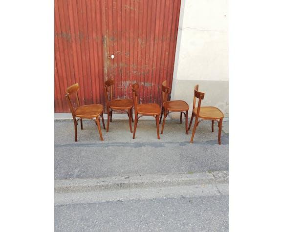 Set de 5 chaises bistrot bois courbé