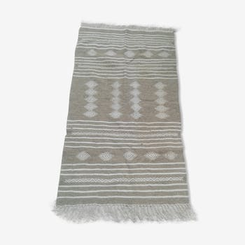 Grey and white handmade Kilim rug made of pure wool 90x150cm