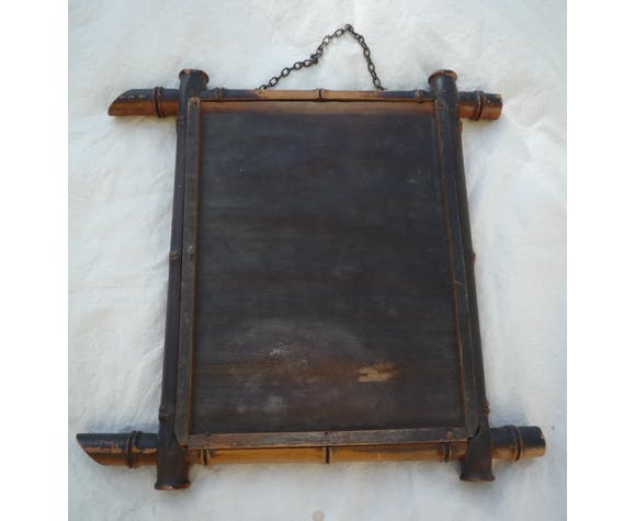"""Small mirror, wood frame """"bamboo"""" style, 1930s 33x33cm"""
