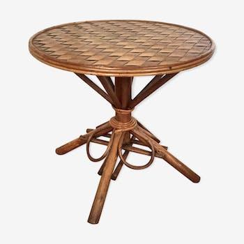 Rattan round table 60s