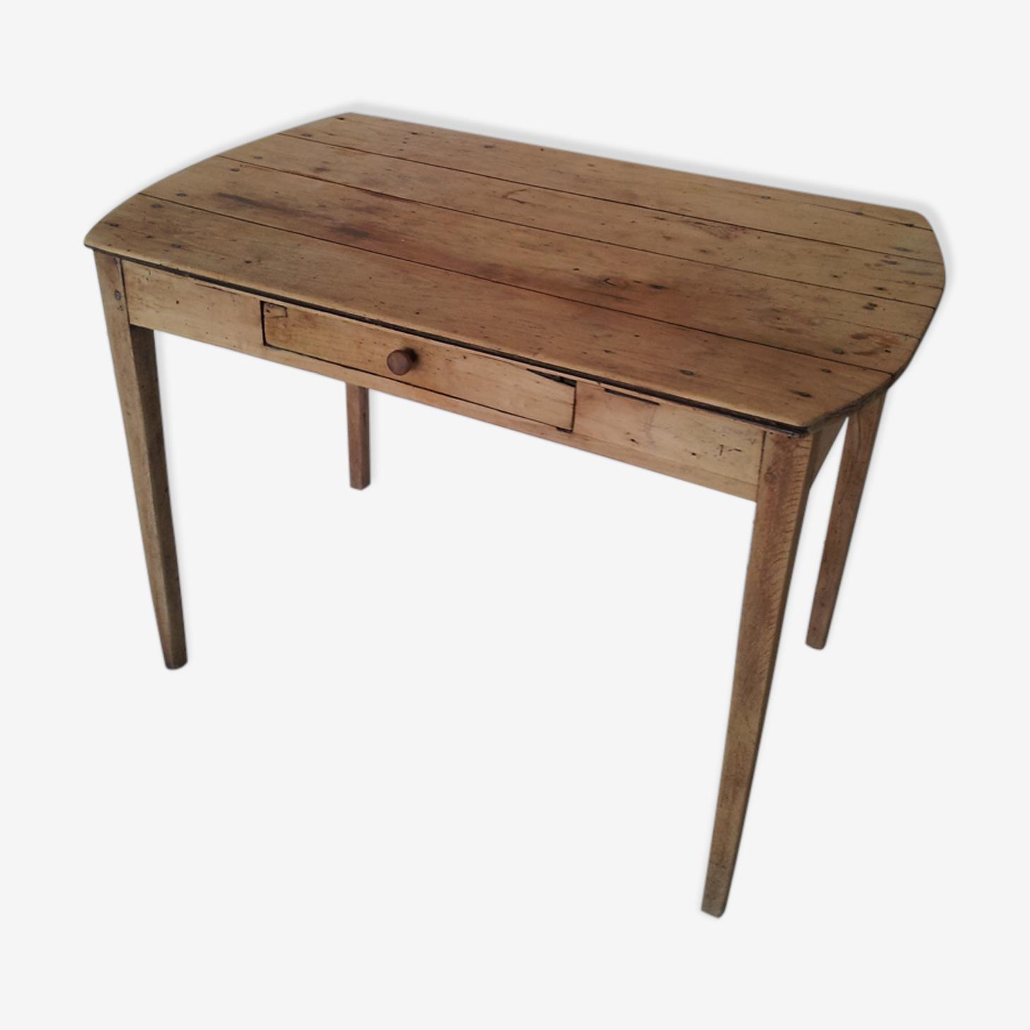 Table bois 1950 avec 1 tiroir et 2 rallonges