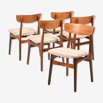 Set of Five Danish Dining Chairs in Teak