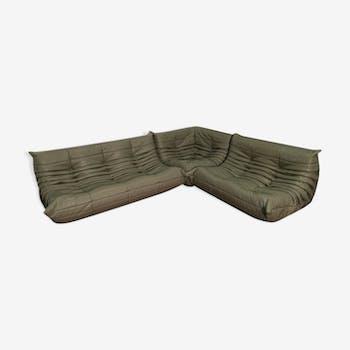 """Togo"" gray sofa set dark leather by Michel Ducaroy for line Roset 1974"
