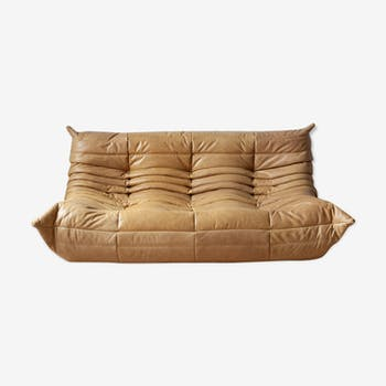 3 seater Togo camel leather sofa by Michel Ducaroy for Ligne Roset