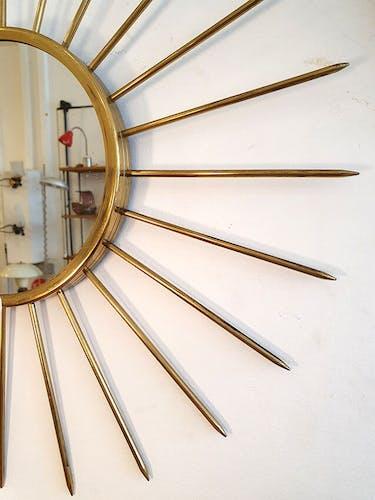 Miroir soleil vintage en métal doré, 51cm