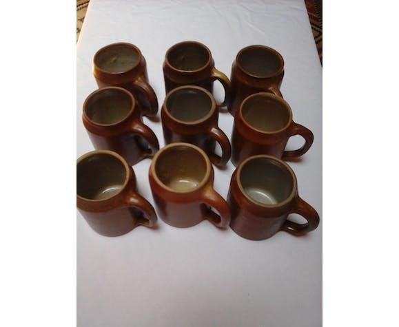 9 sandstone mugs