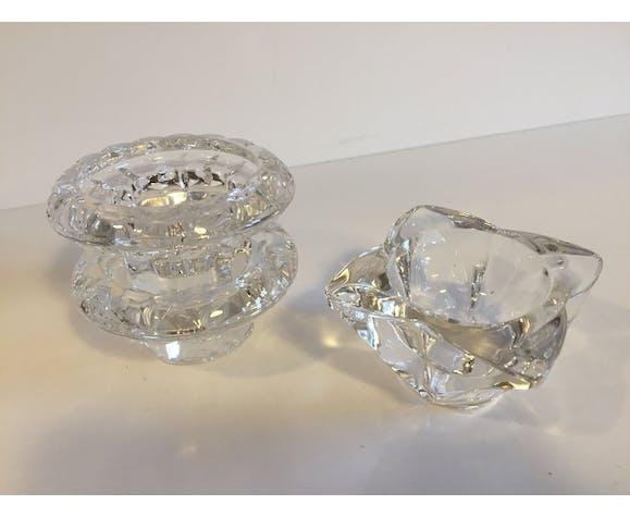 Ensemble de 3 bougeoirs photophores en cristal