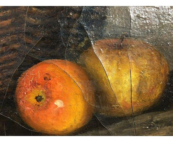 Tableau nature morte aux pommes et panier, signé  début XX siècle