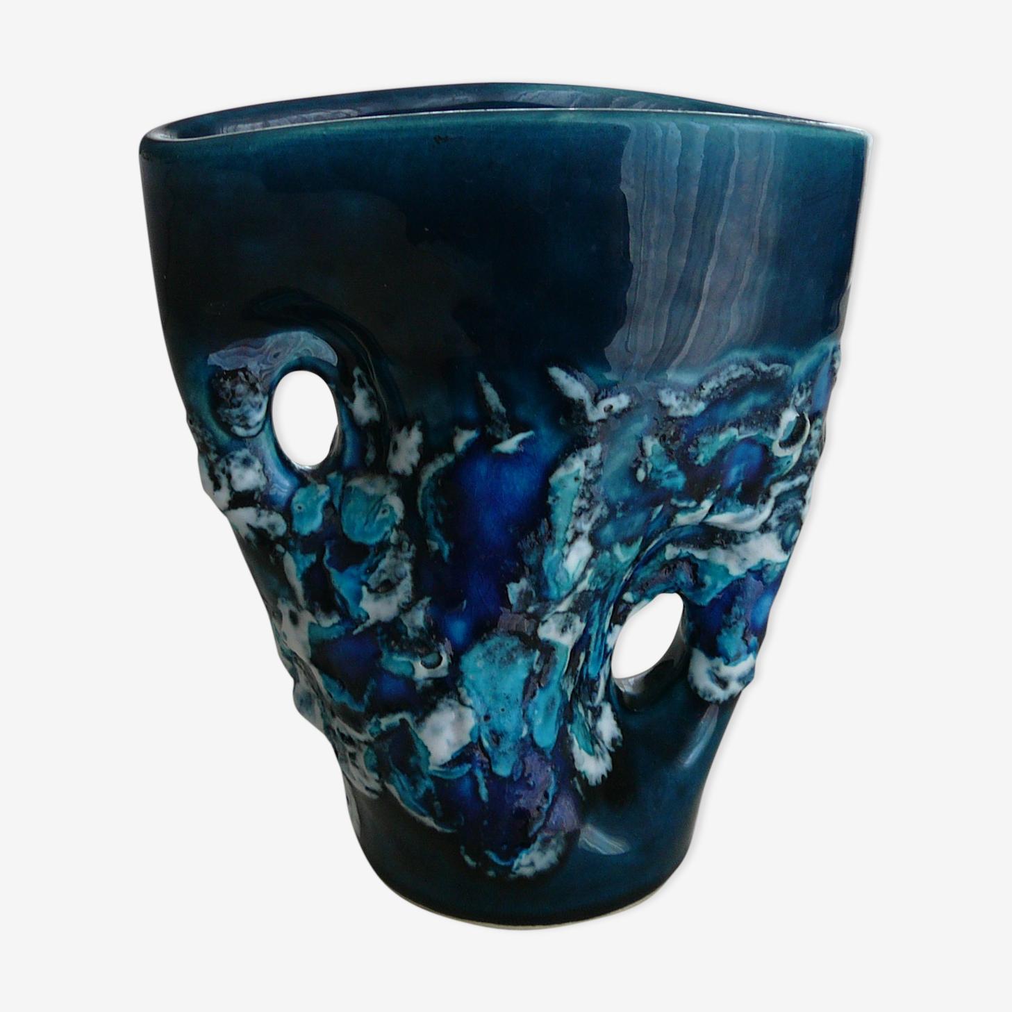 Vase bleu type Vallauris fait main signé