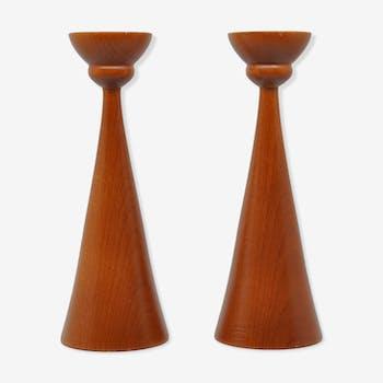 Pair of candlesticks teak