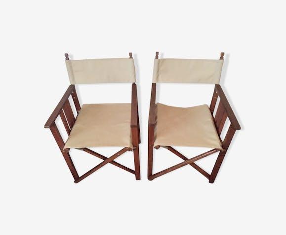 Paire de fauteuils scandinaves en teck pliants