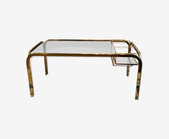 Table Basse En Verre Et Laiton Vintage Des Années 70 Laiton Doré
