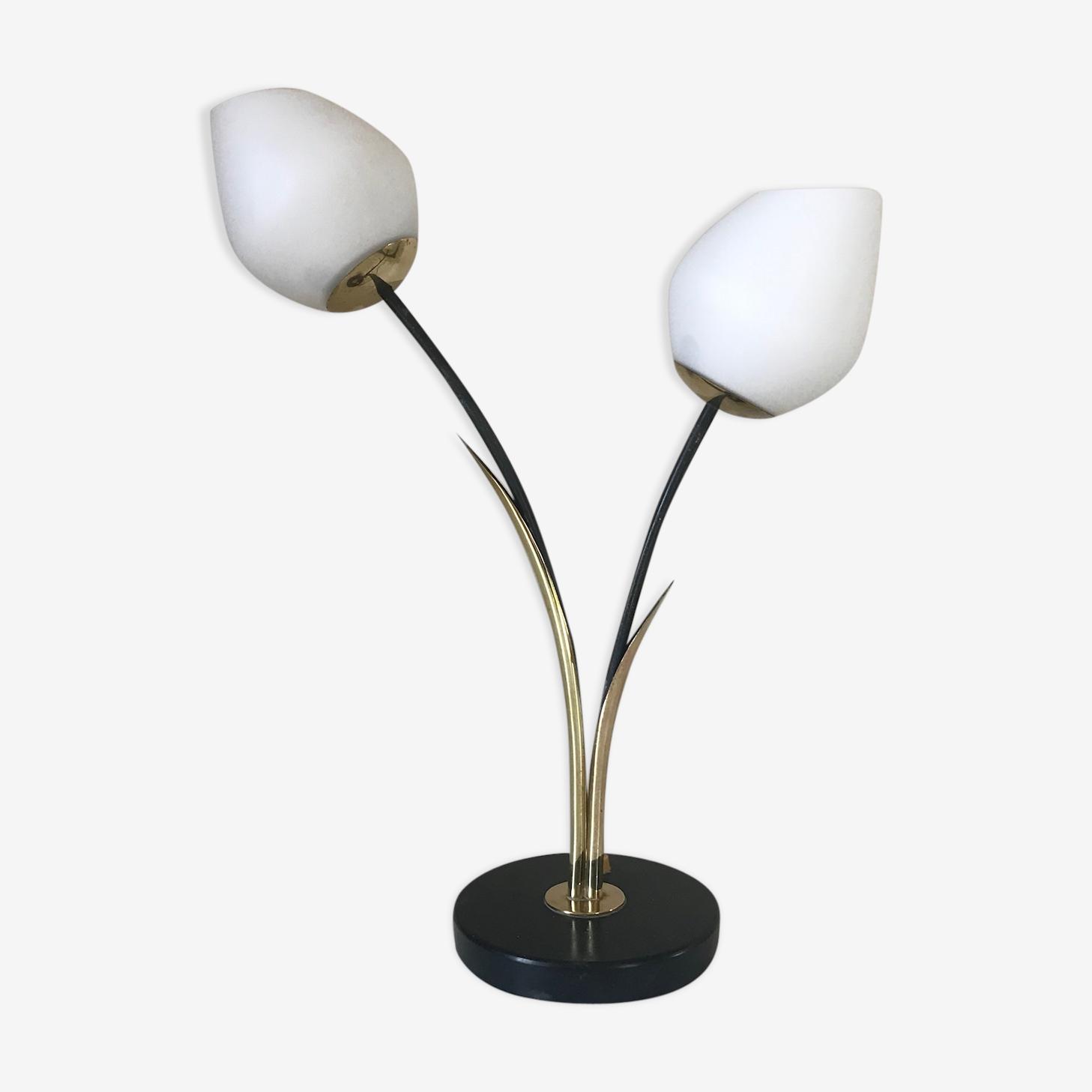 Lampe Roseaux Design Lunel 1960 Laiton Noir Vintage Wzlokaq