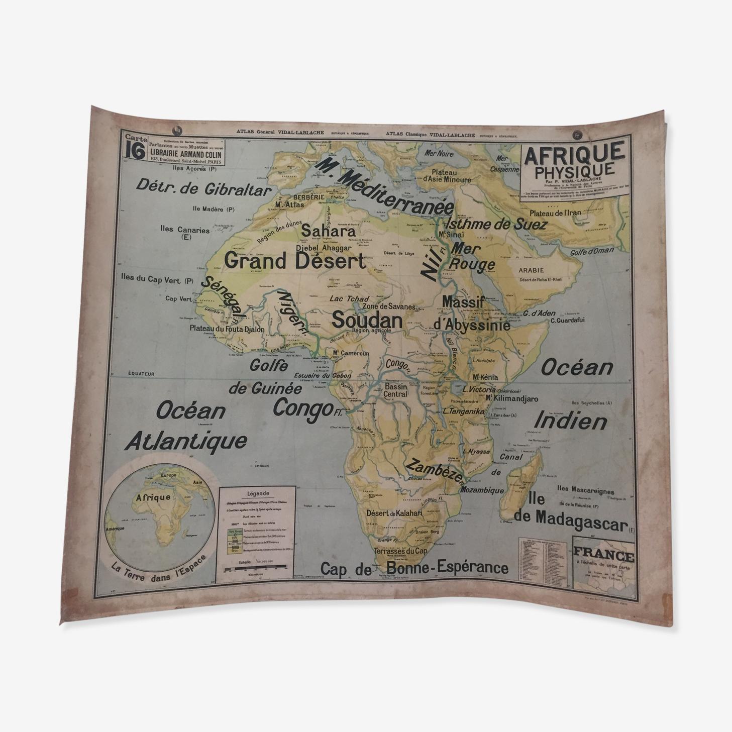Carte géographique Afrique physique