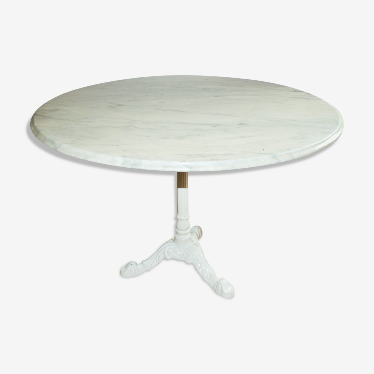 Table ronde plateau marbre blanc
