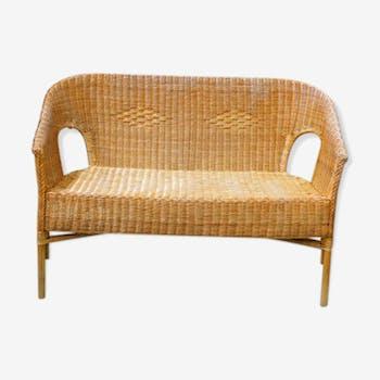canap banquette en rotin et osier vintage d 39 occasion. Black Bedroom Furniture Sets. Home Design Ideas
