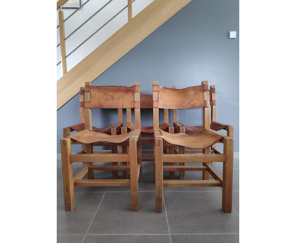 Lot of 5 Maison Regain chairs in solid elm natural leather 1960